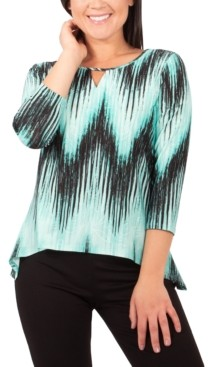 NY Collection Petite Printed Keyhole Top