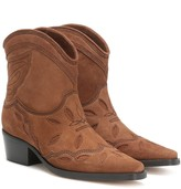 Ganni Low Texas suede cowboy boots