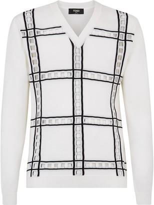 Fendi open-work detailed V-neck jumper