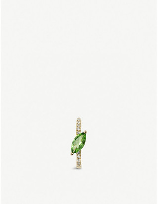Roxanne First 14ct Yellow-Gold, Green Marquise And Diamond Huggie Earring