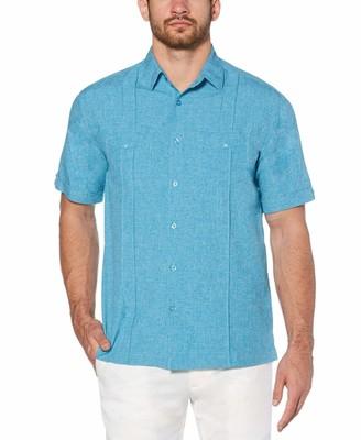 Cubavera Big & Tall Camp Collar Double Buttoned Pocket Shirt