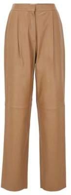 HUGO BOSS Regular Fit Pants In Plonge Leather - Light Brown