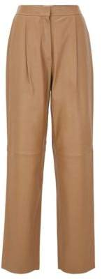 Regular-fit pants in plong leather