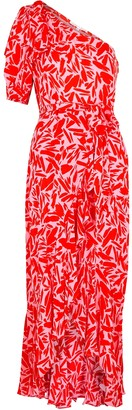 Veronica Beard Vie printed one-shoulder silk-blend midi dress