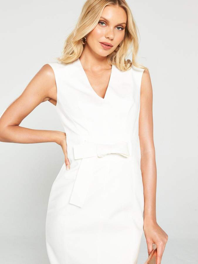 Karen Millen Tie Waist Contour Dress - Ivory