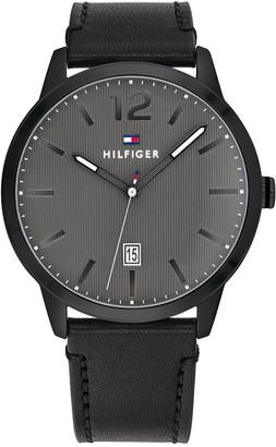Tommy Hilfiger Men's Dusting Analog Quartz Leather Strap Watch, 44mm