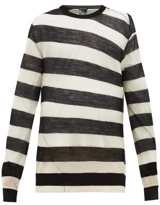 Ann Demeulemeester Curved-seam Striped Wool Sweater - Mens - Black White