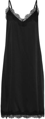 Iris & Ink Lace-trimmed Satin-twill Slip Dress