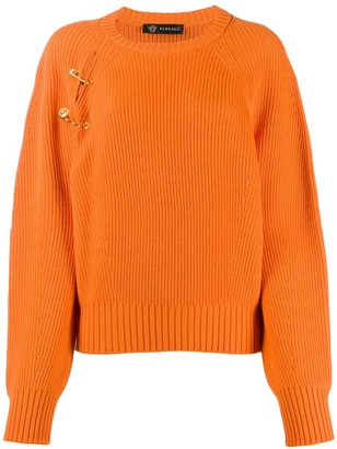 Versace Safety Pin Ribbed Jumper