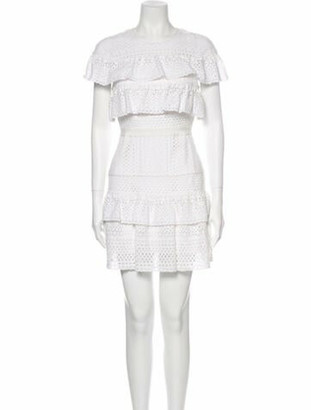 Self-Portrait Lace Pattern Mini Dress White
