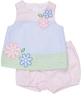 Florence Eiseman Sleeveless Floral Striped Seersucker Dress w/ Bloomers, Multicolor, Size 3-24 Months