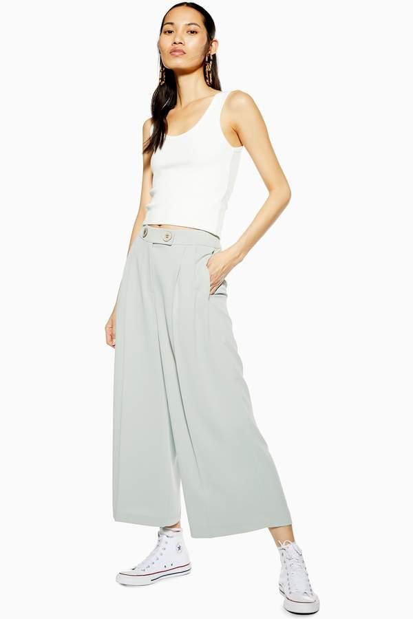 Topshop Womens Mint Cropped Wide Leg Trousers - Mint
