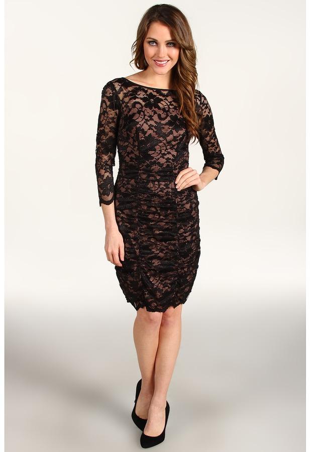 Eliza J 3/4 Surplice Lace Dress w/ Ruching (Black) - Apparel