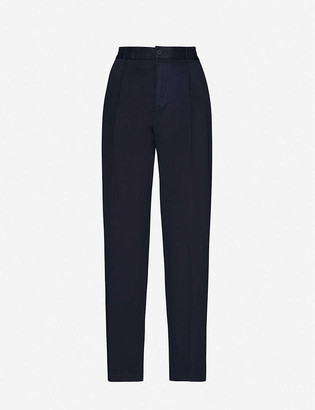 Benetton Tapered high-rise stretch-cotton trousers