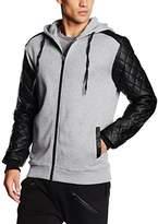 Urban Classics Men's Diamond Leather Imitation Sleeve Zip Sports Hoodie,M