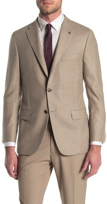 Hickey Freeman Tan Solid Two Button Notch Lapel Classic B Fit Suit Separates Jacket