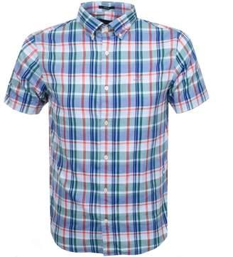 Gant Short Sleeved Oxford Plaid Shirt Green