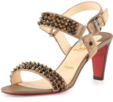 Christian Louboutin Bikee Bike Two-Strap Red Sole Sandal, Greige