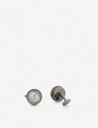 Tateossian Round gear sterling silver cufflinks
