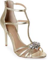 Badgley Mischka Gold Hazel II Embellished T-Strap Sandals