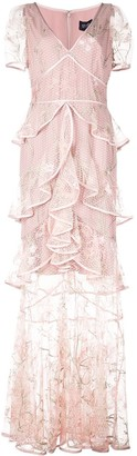Marchesa Layered Ruffle Mesh Dress