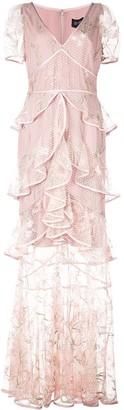 Marchesa layered ruffle mesh dress