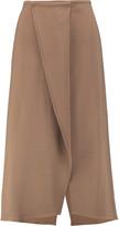 Brunello Cucinelli Wrap-effect wool-blend crepe midi skirt