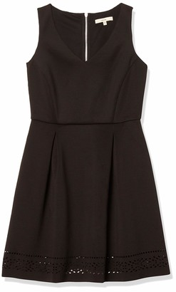 Lark & Ro Amazon Brand Women's Sleeveless Laser Cut Scuba Fit and Flare Dress