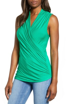 Loveappella Cross Drape Sleeveless Top