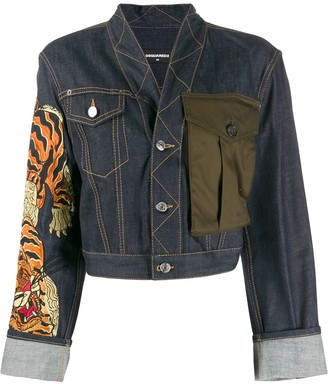 DSQUARED2 Tiger print denim jacket