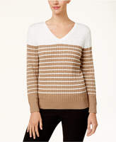 Karen Scott Cotton Colorblocked Cable-Knit Sweater, Created for Macy's