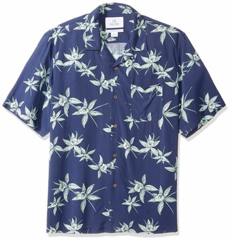 28 Palms Relaxed-fit Vintage Washed 100% Rayon Hawaiian Shirt Button