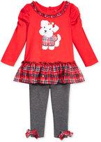 Nannette 2-Pc. Puppy Tunic & Plaid Leggings Set, Baby Girls