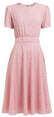 Vika Gazinskaya Polka Dot-print Crepe Midi Dress - Womens - Pink Multi