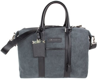 Crafted Society Nando Weekender Small - Anthracite Grey Canvas & Black Saffiano Leather
