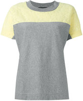Moschino lace trim colour block T-shirt - women - Cotton - 38