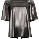 River Island Womens Dark silver metallic bardot top