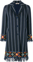 Tory Burch embellished striped coat - women - Cotton/Polyester/Viscose/Other fibres - 8