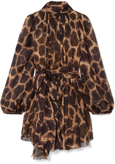 Dolce & Gabbana Pussy-bow Animal-print Silk-chiffon Mini Dress - Brown