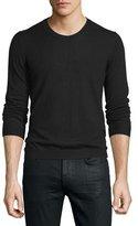 Just Cavalli Long-Sleeve Crewneck Wool Sweater, Black