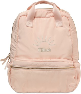 Chloé Embroidered Logo Canvas Backpack