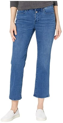 NYDJ Marilyn Straight Ankle Jeans with Mock Fly and Slit in Nevin (Nevin) Women's Jeans