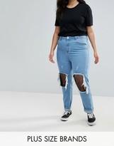 Boohoo Plus Ripped Fishnet Skinny Jeans
