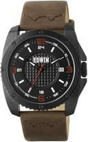 Edwin EMERGE Men's 3 Hand-Date Watch, Stainless Steel Case with Brown Leather Band