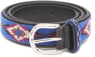 Isabel Marant Elsa Beaded Leather Belt - Womens - Blue
