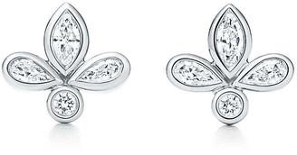 Tiffany & Co. Fleur de Lis earrings in platinum with diamonds, mini