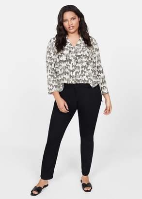 MANGO Violeta BY Textured printed shirt off white - 10 - Plus sizes