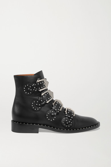 ddf5c0bdb2a Elegant Studded Leather Ankle Boots - Black