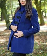 Royal Blue Faux Leather-Accent Wool-Blend Maternity Coat