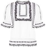 Topshop Poplin embrodiered puff sleeve top